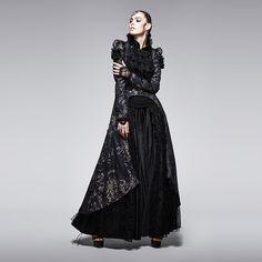 Printing Asymmetrical Dovetail Women Black Lace Coat