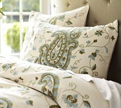 Paisley Crewel Embroidered Duvet Cover.. only available in twin. would make a wonderful bed scarf at the foot of a bed with a blue quilt as bedding.