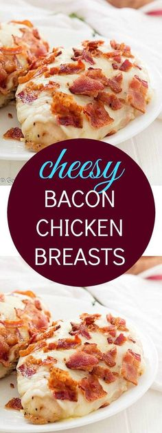 Cheesy Bacon Chicken Breasts - The only comforting chicken breasts you will ever need. Loaded with cheese and bacon! A family-favorite and incredibly easy! The easiest recipe ever! You are going to love these bacon chicken breasts! A family-favorite. Chicken Breast With Bacon, Chicken Bacon, Chicken Breasts, Chicken Recipes With Cheese, Recipes With Chicken Breast Easy, Recipes With Bacon Dinner, Low Carb Meals Chicken, Bonless Chicken Recipes, Baked Chicken Breastrecipes