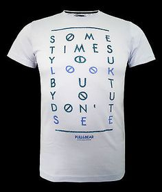 Mens pull & bear t shirt top some #times #print - #light blue size xs to xxl ,  View more on the LINK: http://www.zeppy.io/product/gb/2/400759366286/