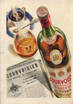 1940 Courvoisier Cognac Brandy of Napoleon Bottle Vintage 1940s Art Ad