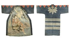 Japanese Fireman& Coat, Hikeshi Bantenmeiji The reversible garme. Family Crest, Kato, Historical Clothing, Indigo, Japanese, Bamboo Leaves, Firemen, Wallis, Cotton