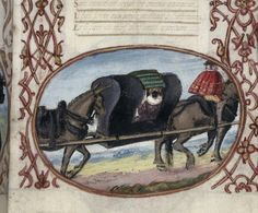 British Library, Harley 5256, f. 9. Detail of a horse litter carrying a lady in a mask.  France.
