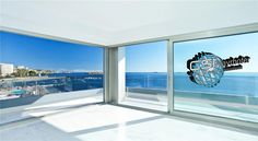 the jaw-droppingly beautiful view from a luxury apartment in Ibiza Royal Beach complex in Playa d'en Bossa - WIN! 4 nights accommodation with White Ibiza! 3d Wallpaper City, View Wallpaper, Paper Wallpaper, Seaside Wallpaper, Playa Den Bossa, Large Wall Murals, Laminated Glass, Hotels, Arquitetura