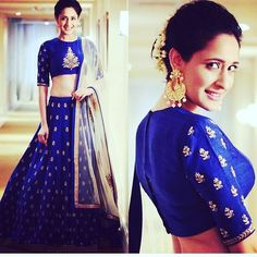 The 'must have' kind of lehenga choli! The royal blue stunner is a keeper! And she s killing it with the gajra! Get this custom made at our store! designer - jayantireddy #indianbrides #toronto #torontoindianweddings #torontoindian #royalblue #indianfashion #eveningwear #indianfashionistas #torontolife #igers by ateliercloset