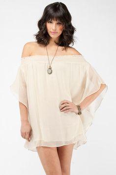 Smocking Bird Strapless Dress in Oyster $88 at www.tobi.com