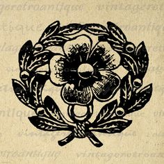Printable Flower Embellishment Digital Image Floral Leaf Design Element Download Graphic Antique Clip Art. Vintage digital graphic for iron on transfers, printing, and more. Great for use on etsy items. This graphic is high quality and high resolution at size 8½ x 11 inches. Transparent background version included with every graphic.