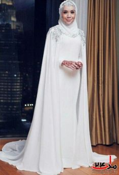 trendy bridal hijab veil muslim brides make up Muslim Wedding Gown, Muslimah Wedding Dress, Muslim Wedding Dresses, Muslim Brides, Dress Wedding, Hijabi Wedding, Wedding Hijab Styles, Bridal Hijab, Hijab Bride