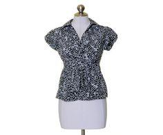 Banana Republic Black White Geometric Print Tie Waist Cap Sleeve Blouse Size XS #BananaRepublic #Blouse #Casual