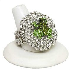 STRETCH RING - FROG RING- FROG ON LILY PAD RING- RHINESTONE FROG RING