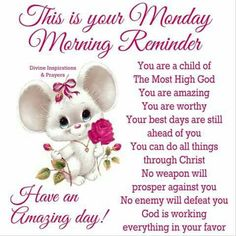 Description: 💝 BLESSED TO BE A BLESSING❣️. Monday Morning Greetings, Monday Morning Blessing, Good Morning God Quotes, Good Monday Morning, Good Morning Prayer, Morning Inspirational Quotes, Good Morning Messages, Good Morning Good Night, Good Morning Wishes