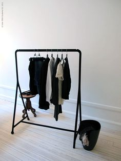 Ikea turbo clothing rack via Remodelista Ikea Clothing Storage, Ikea Clothes Rack, Clothes Rail, Clothing Racks, Clothing Organization, Clothes Storage, Kids Clothing, Clothes Hanger, Ikea Laundry