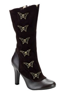 Womens Steampunk Calf Boot With Steam Skull Butterfly Buttons We have motorcycle boots, & Sexy club & stripper shoes, OH YEAH we got the BEST! www.SouthernLeathers.com