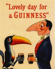 Vintage Lovely Day for a Guinness Beer Art Print Retro Advertising, Vintage Advertisements, Vintage Ads, Vintage Prints, Vintage Posters, Retro Ads, Guinness Advert, Guinness Book, Sous Bock