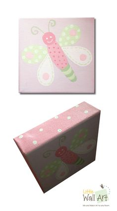 """5""""x5"""" dragonfly canvas. 1-1/2"""" profile with lite green poka dots."""