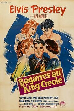 KING CREOLE movie poster KISSING COLORFUL GIRLS collectible cool 24x36 Brand New. 24x36 inches. Will ship in a tube. Reproduction of aged original vintage art print. Great wall decor art print at a fr