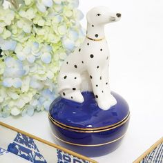 General Accessories,Gifts,Home Decor, animal,covered dish,Dalmatian,dog,jewelry, Dalmatian Trinket Dish, A modern twist on the staffordshire dog a dalmatian sits tall on top of the trinket box, 7×3.75″Designed in USA / Imported product, Porcelain