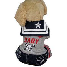 Ranphy Autumn Pet Small Dog Cat Sailor Outfits Tee Shirt Navy Jumpsuit Denim Pants Chihuahua Overalls Clothes Embroidery ROCK BABY Grey L -- Details can be found by clicking on the image. (This is an affiliate link) #Cats