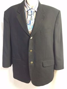 Gianni Manzoni Tendenza Black Sports Coat 44 Made in Italy Pure Wool Super 120s #GianniManzoni #ThreeButton