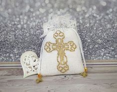 First communion purse, Drawstring pouch, Wristlet wallet, Small white bead crochet bag Gold Embroidery, Drawstring Pouch, Small Handbags, First Communion, White Beads, Bead Crochet, Wristlet Wallet, Barbie Clothes, Purses