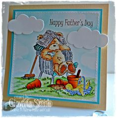 """Project by Giovana Smith for Crafter's Companion. Stamp set: """"Father's Day"""" from the Popcorn the Bear collection. Spectrum Noir markers and pencils used: Grass: LG1, LG2, CG1 - 046, 047 Bear: TN1, TN2, TN3, TN4, TN5 - 088, 090 Pots: OR1, TN5, TN7 - 022 Dirt: EB1, EB2, EB3, EB6 Duck: LY1, LY2, LY3 CT1, OR1, OR2 - 015 Chair: IG1, IG2, IG3, IG4, IG5 - 014 Newspaper: BG1, BG2 Couch Pillow: BT3, BT4, BT5 Basket: TB1, TB2, TB3 Cup: BT2, TN3, TN4"""