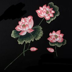 Set of 2 pcs Combination pattern Full Bloom Flower patch Lotus sew on patch embroidered patch applique Size : 3# 23 cm X 61 cm 4# 14 cm X 18 cm Quantity : 1 set (2 patches )