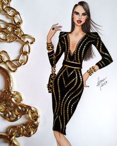 Be Inspirational ❥ Mz. Manerz: Being well dressed is a beautiful form of confidence, happiness & politeness Fashion Model Drawing, Fashion Design Drawings, Fashion Sketches, Clothing Sketches, Covet Fashion, Fashion Art, Fashion Models, Fashion Illustration Dresses, Fashion Illustrations