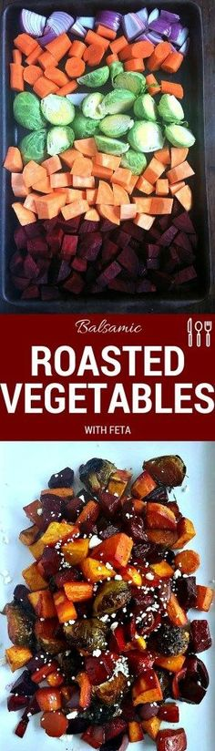 Gorgeous oven roasted vegetables made even tastier with the tang of balsamic vinegar, the sweetness of brown sugar, finished with the bite of feta cheese.