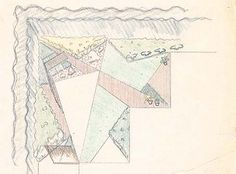Jones garden. Axonometric study. Los Angeles, late 1940s. Colored pencil on tracing paper. [Documents Collection]