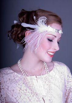 Flapper Feather Headband Silver And Champagne Pink.