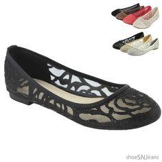New-Women-Casual-Dress-Ballet-Shoes-Slip-On-Multi-Colors-Lace-Crochet-Flat-Shoes