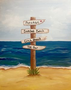 Check out Easy Breezy Beach Sign at Traditions at Cypress Point Country Club - Paint Nite Event Beach Scene Painting, Diy Painting, Painting & Drawing, Seahorse Painting, Beach Canvas Paintings, Diy Canvas Art, Beach Canvas Art, Framed Canvas, Beach Drawing