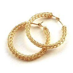 Medium crochet gold HOOP earrings handmade casual hoops unique hoop gold earring jewelry handmade fashion