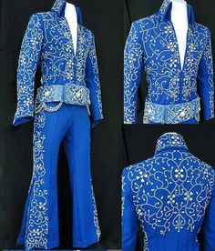 """.""""Lucky Suit Jumpsuit"""" started doing the rounds in 1972. Elvis wore it with a matching white lined cape, but when it was worn again during the August/September Vegas engagement, a new cape was made for it. This time the lining was silver. There was also a light blue version made of the """"Lucky Belt"""", which Elvis used with the """"Turquoise Phoenix"""" in 1974."""