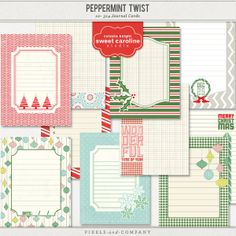 Peppermint Twist - Journalers by Celeste Knight $4.00 Peppermint Twist is a fresh Christmas Digital kit with fun and simple patterns and elements perfect for your holiday scrapping and projects. Add these fun coordinating journalers for more options.