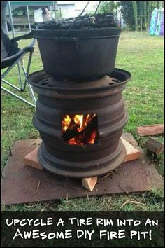 Why buy an expensive barbecue grill, when you can make one from tire rims? This one is sure to be a great conversation starter!