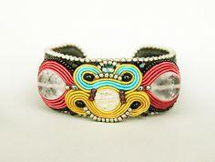 Colorful summer bracelet , soutache cuff, rainbow cuff, embroidered jewelry, cuff bracelet, beaded cuff, stone crystals cuff