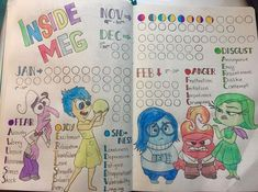 Track emotions in your journal with this disney pixar inside out themed tracker. see how she created a mood tracker with these characters. March Bullet Journal, Bullet Journal Spread, Bullet Journal Ideas Pages, Bullet Journal Inspiration, Journal Pages, Bullet Journals, Organisation D'agenda, Pixar Inside Out, Tracker Mood