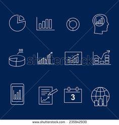 Diagram and infographic white silhouette  icons vector - stock vector