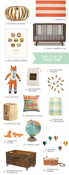Fantastic Mr. Fox nursery theme, complete with other elements I already love like maps and hot air balloons - somewhere a designer is reading my mind!!