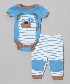 Wee loves are wrapped up snug and sweet in this so-soft set. Deliciously bold hues in a cozy fabric are topped off with a cuddly critter friend, patchwork knees, stretchy waistband and easy bottom snaps and lap neck to keep every bit of Baby cozy and comfy.