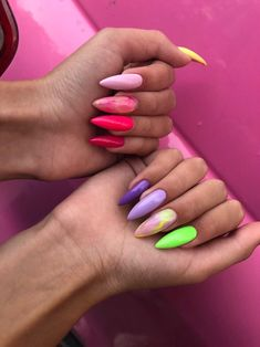 Amazing colors for long nails - ChicLadies. Best Acrylic Nails, Summer Acrylic Nails, Acrylic Nail Designs, Spring Nails, Summer Nails, Stylish Nails, Trendy Nails, Swag Nails, My Nails