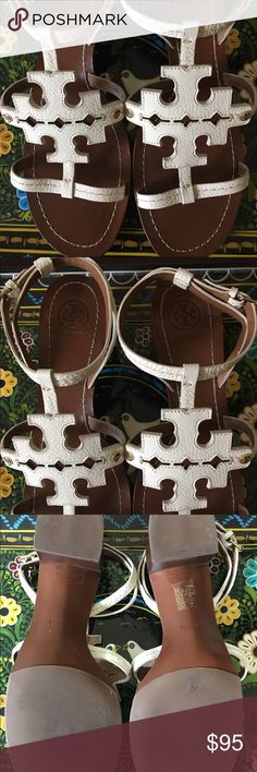 Tory Burch Sandals Walk around in style with an off white wrap around your ankle sandal by Tory Burch.  Size 9 1/2. Two inch heel. Extra cute with any outfit! Tory Burch Shoes Sandals