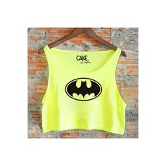 Neon Batman Loose Crop Tank by Cake Life Festival Wear Neon Yellow and... ($19) ❤ liked on Polyvore featuring tops, black, women's clothing, loose tank tops, neon crop top, loose tank, cropped tank tops and loose fitting tank tops