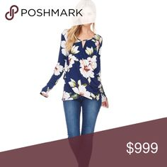 🆕 Cross layered navy floral keyhole top This shirt is so pretty in person! I wore it the day after I received it :)  The fabric in front drapes from both sides to create a small keyhole at the collar. This cut helps hide a tummy and leaves plenty of room for a larger bust. Very flattering style.  Size S (4-6)  Size M (8-10)  Size L (12-14)  See pic of tag with material content.  MADE IN USA Tops