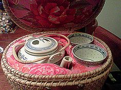 Vintage Tea Pot Basket with Teapot and Cups:  a farm in my heart