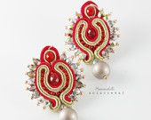 Exclusive, unique and eye-catching earrings red and gold hand-made by soutache