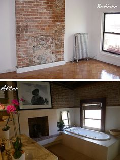 DIY Fireplace Makeover. Whitewash old brick fireplace. Paint Wood ...