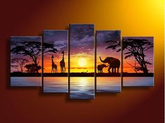 Amazon.com: Sunset river giraffe elephant wall art on quality canvas painting of 5: Arts, Crafts & Sewing