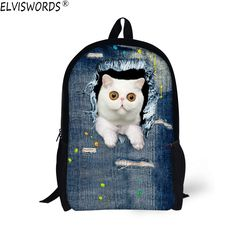 80f5ba7262 Aliexpress.com   Buy ELVISWORDS Children School Bags for Teenage Girls Cute  Denim Cat Print